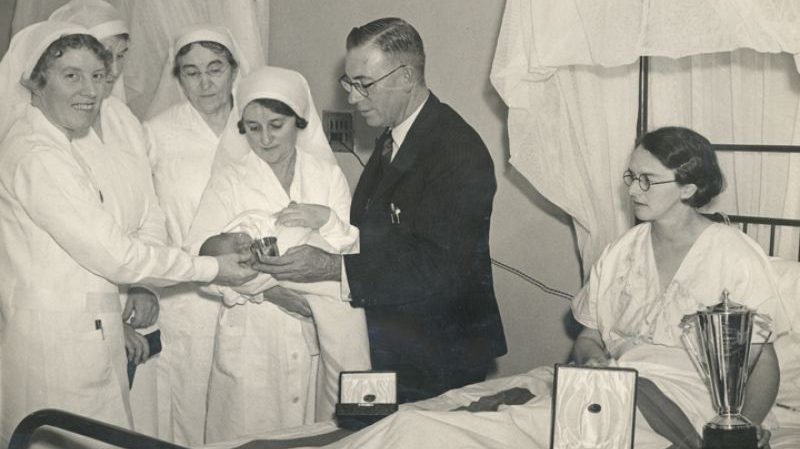 1938 First baby born at the Women's Hospital